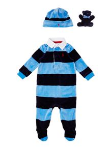 Baby boys velour all-in-one with teddy & hat gift