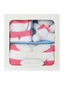 Baby girls stripe all-in-one with teddy & hat set