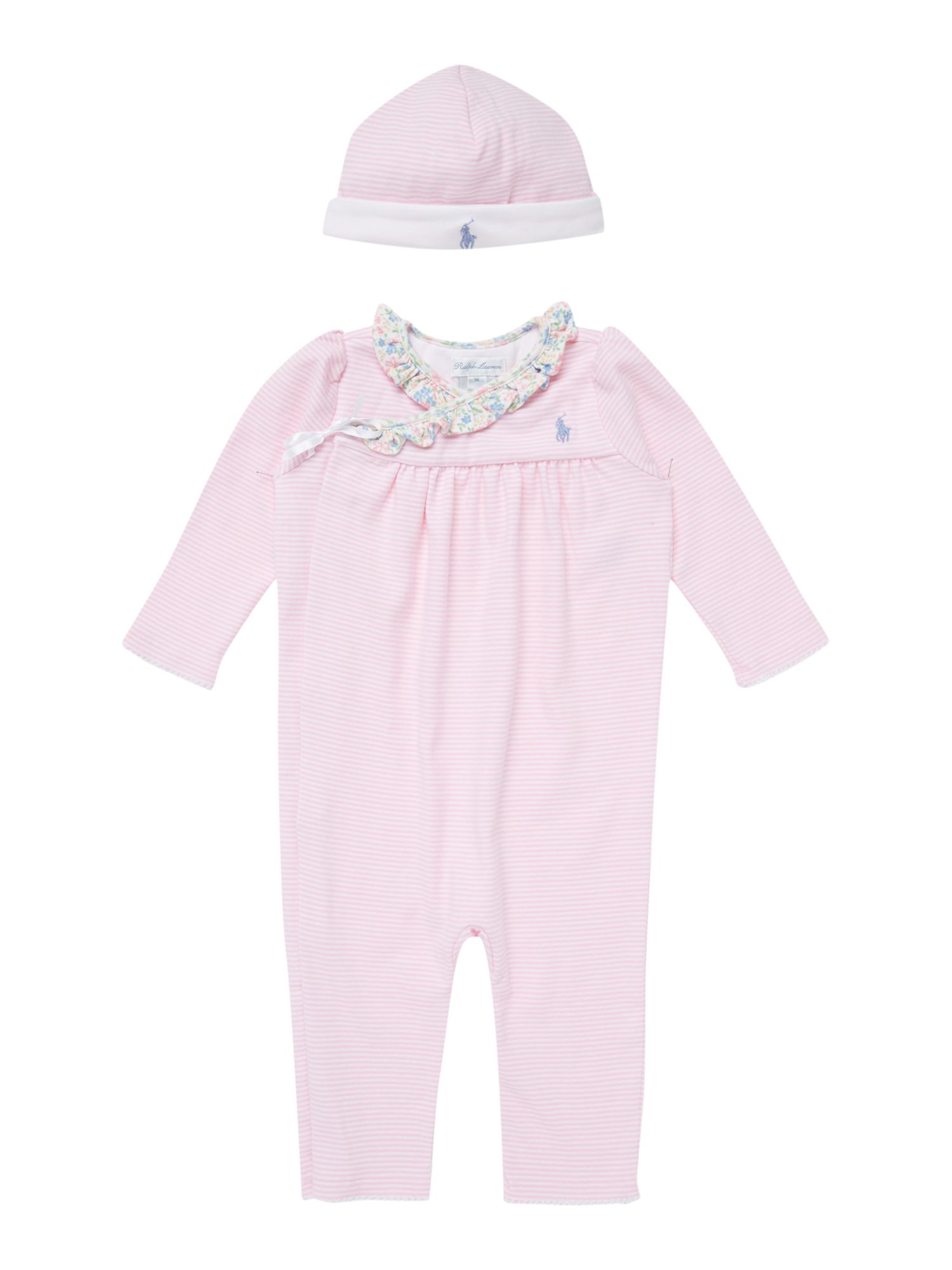 Baby girls all-in-one with teddy & hat giftbox