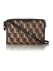 Jacqueline taupe print cross body bag