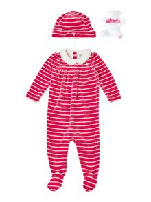 Baby girls velour all-in-one with teddy & hat