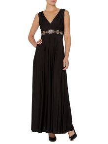 Embellished waist deep v maxi dress