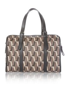 Jacqueline taupe patent bowling bag