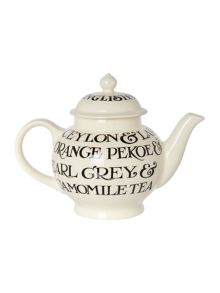 Emma Bridgewater Black Toast All Over 4 Cup Teapot Boxed