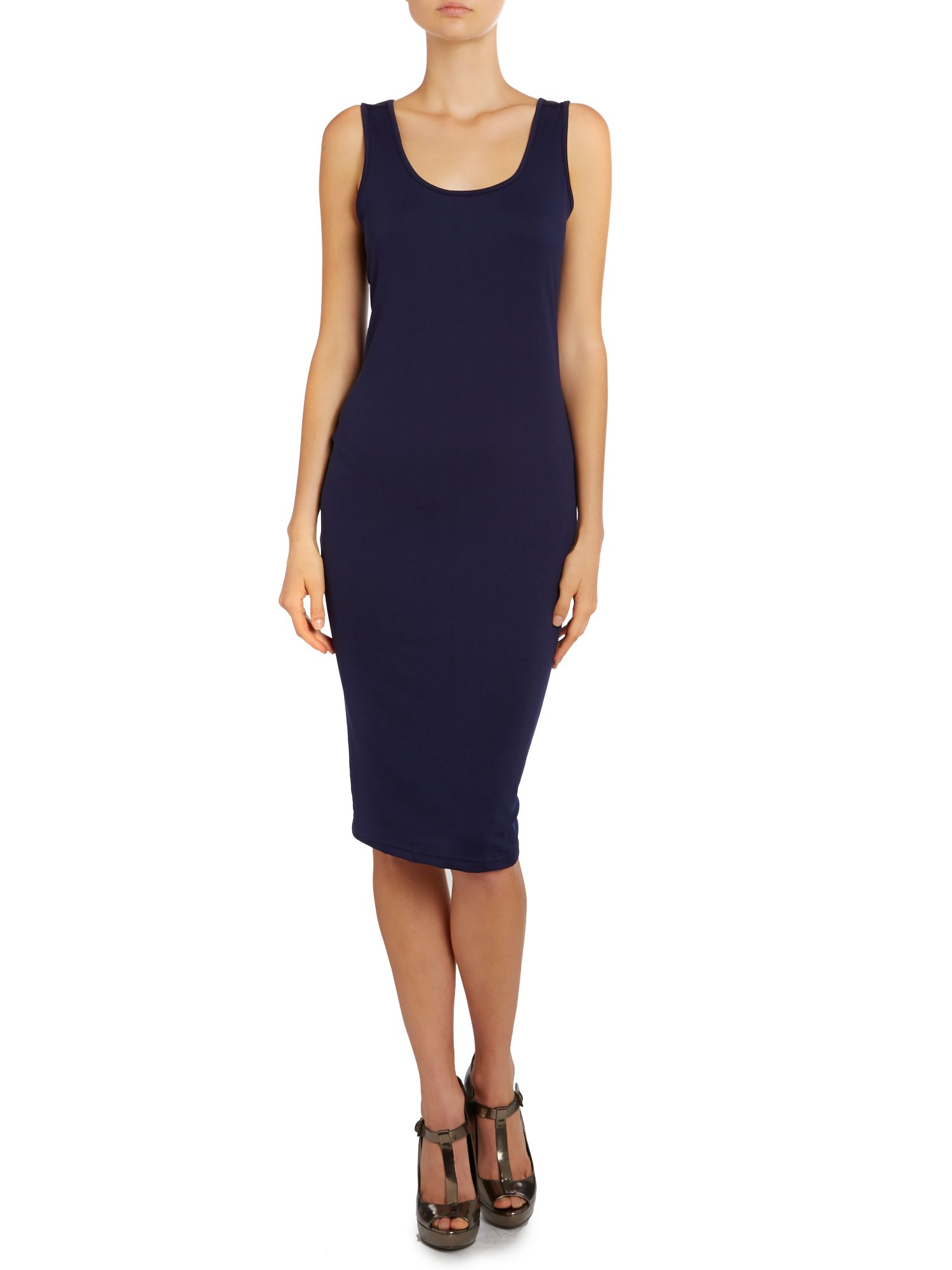 Bodycon sleeveless midi dress