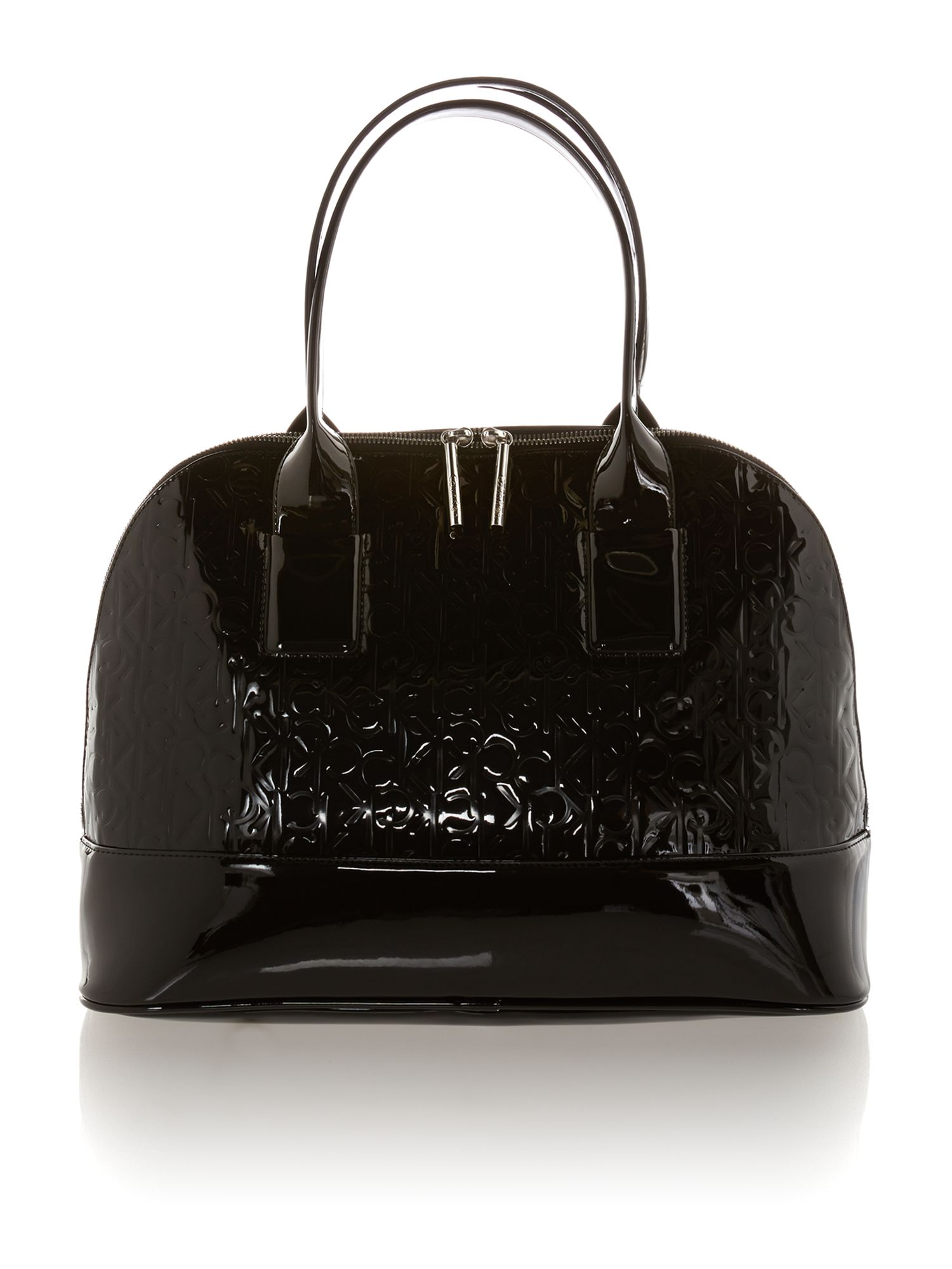 Maggie black patent emboss dome bag