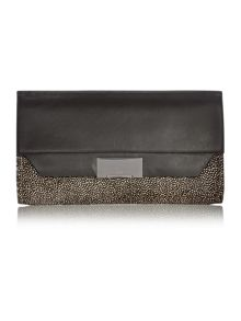 Taylor black pony clutch bag