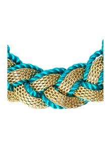 Gold and rope plait necklace