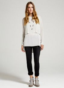 Overdyed crop knit & shirt tails
