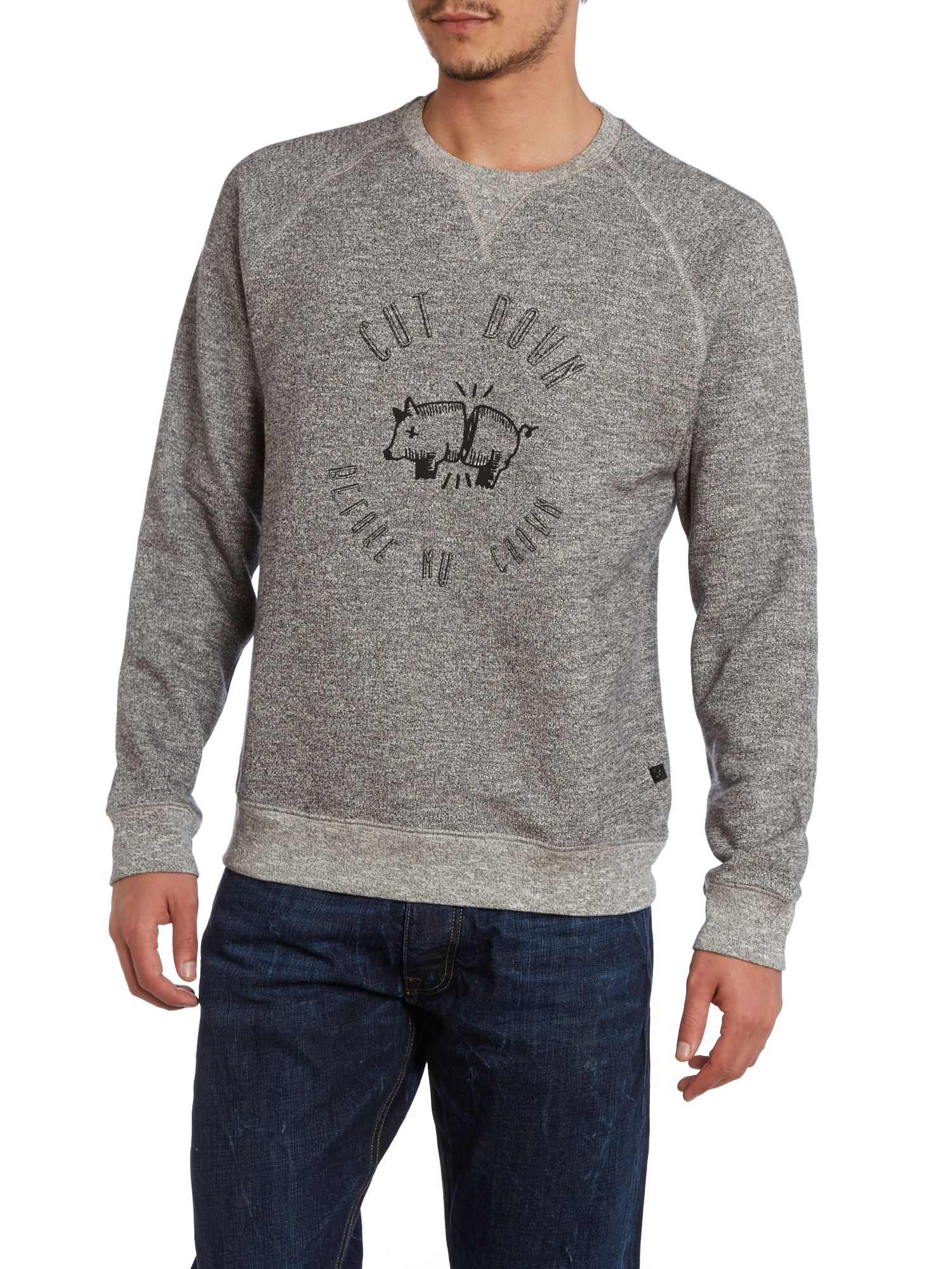 Crown print crew neck sweatshirt