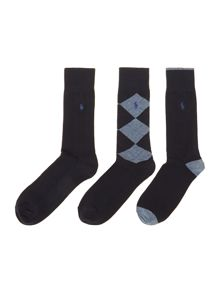 3 pack argyle plain and ribbed sock