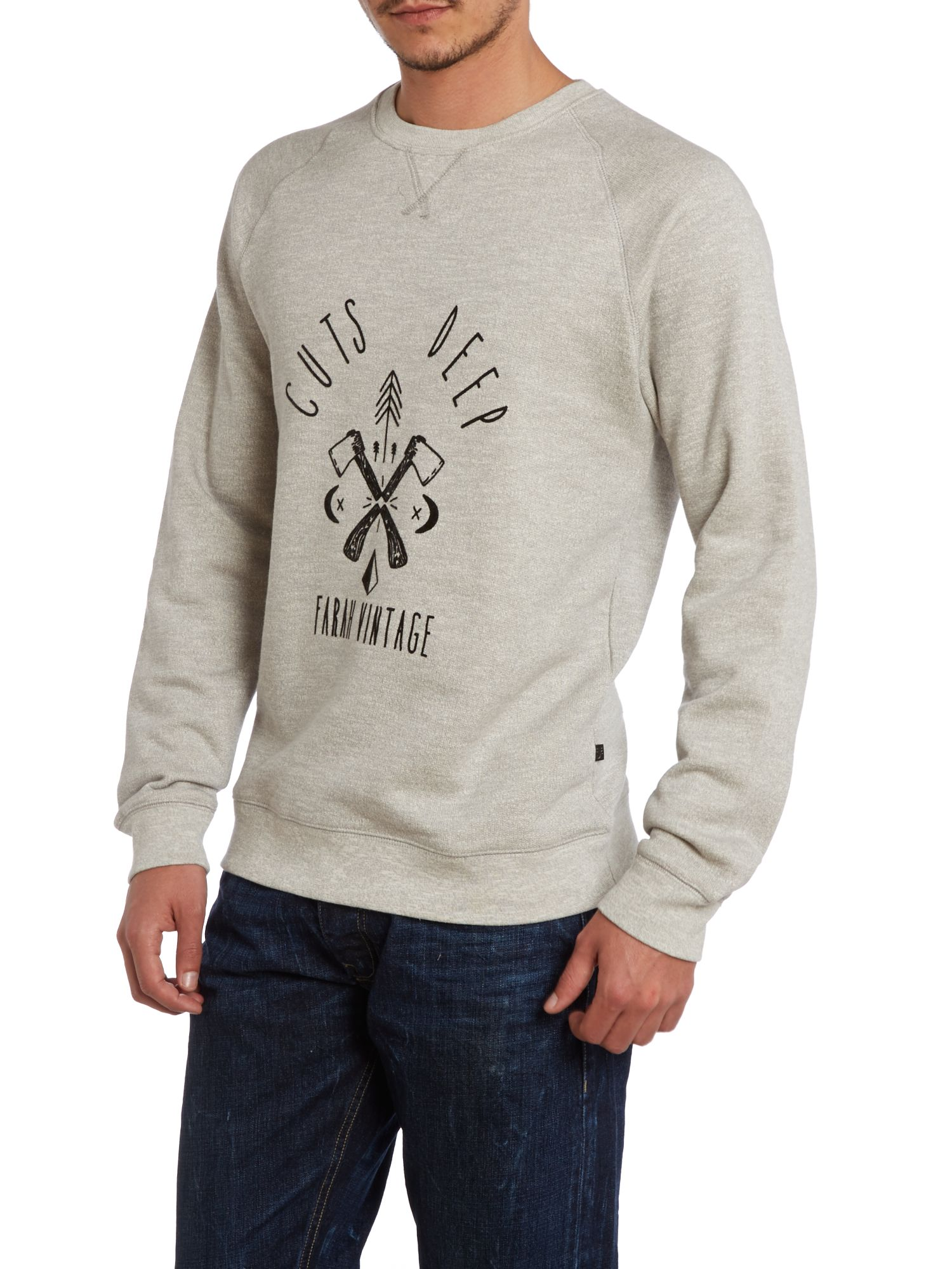 Axe cuts deep print crew neck sweatshirt