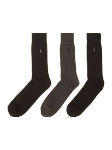 3 pack ribbed cotton sock