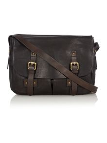 Polperro black flap over satchel