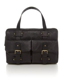 Chevely black snake pocket tote bag