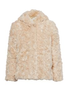 Girls faux fur hooded coat with spotty lining