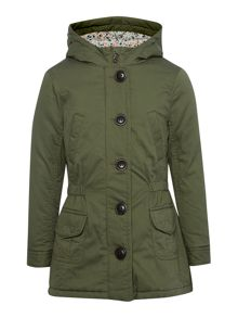Girls hooded parka coat with floral lining