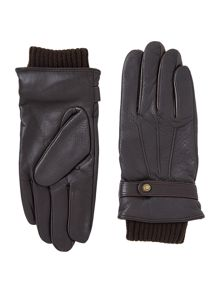 Leather ribbed cuff glove