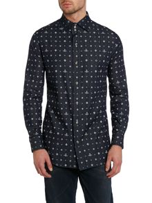 All over orb print shirt