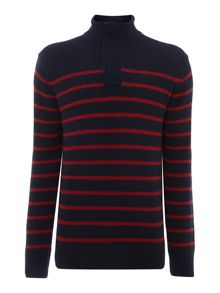 hanover stripe funnel neck jumper