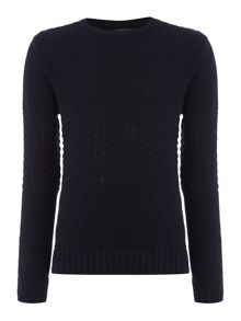 turner mixed panel crew neck knitwear