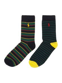 Boys 2 pack stripe socks