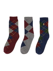 Boys 2 pack argyle socks