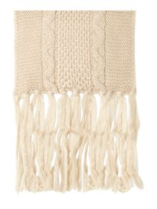 Chunky Cable Panel Giant Tassel Scarf