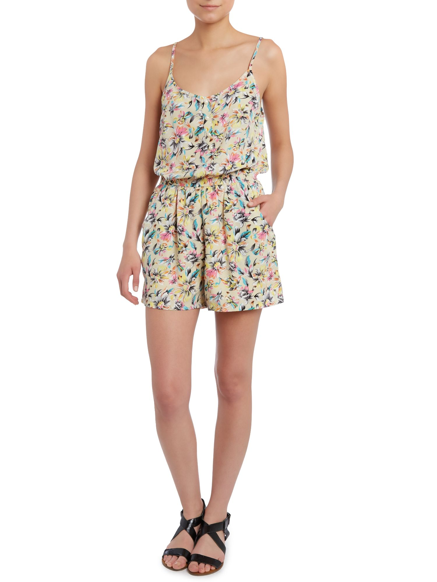 Floral strappy playsuit