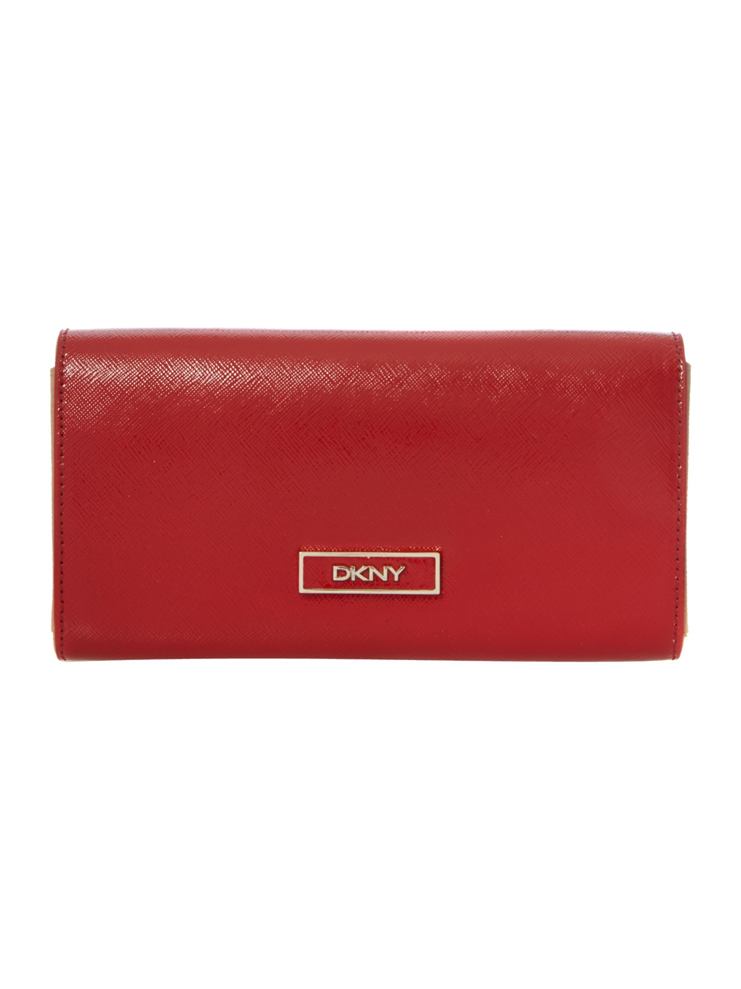 Shiny saffiano red stud envelope purse