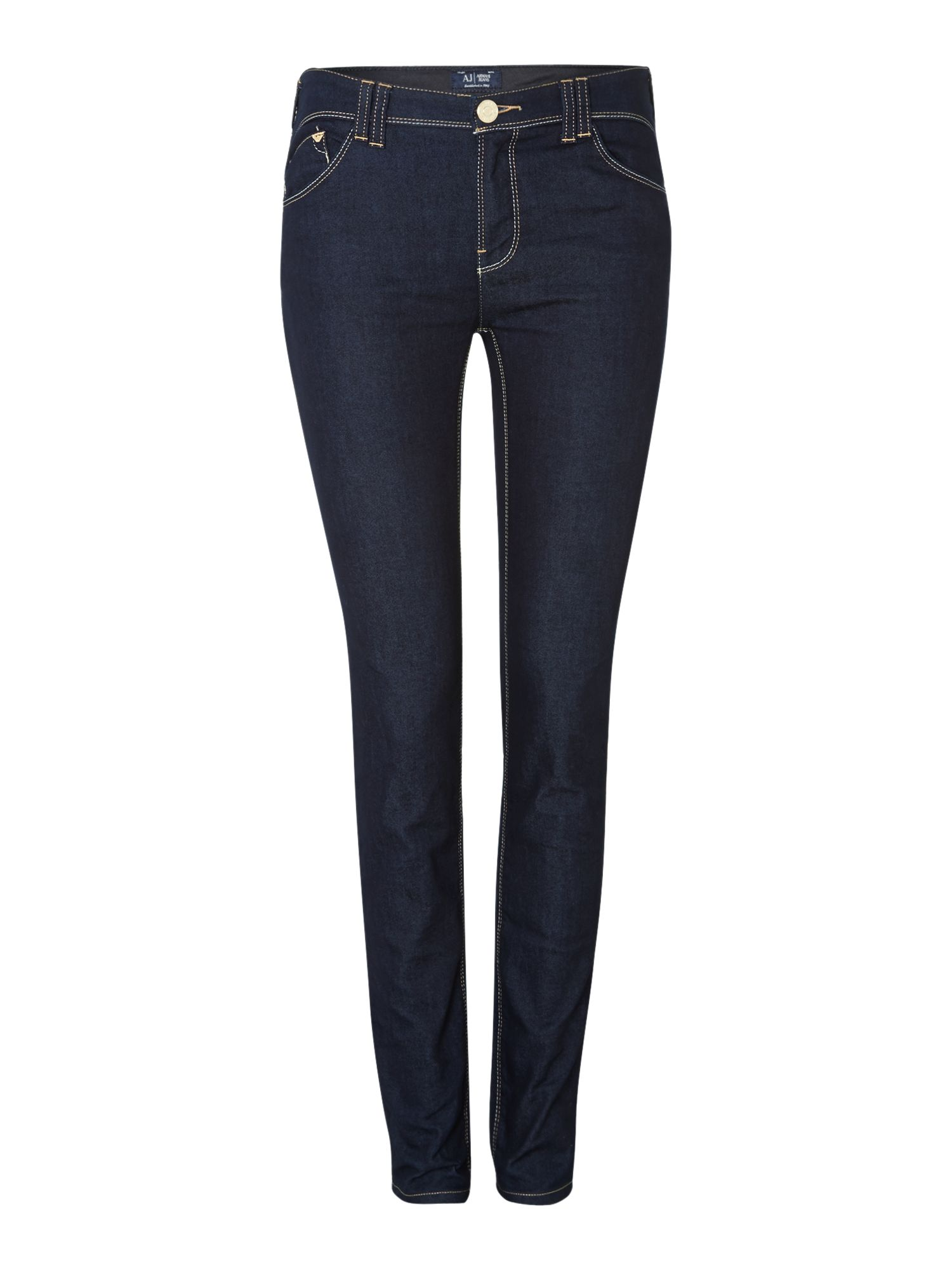 J28 mid-rise stitch pocket detail skinny jeans