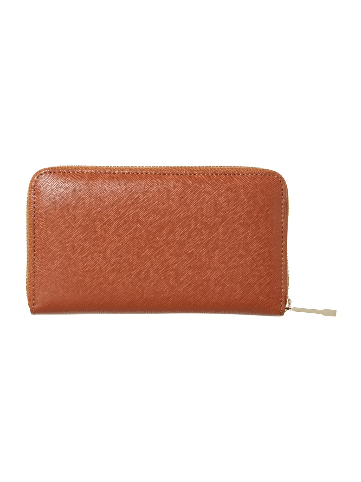 Tan large zip around purse