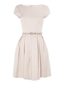 Almari Jacquard spot belted dress