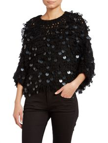 Knit poncho with sequin discs