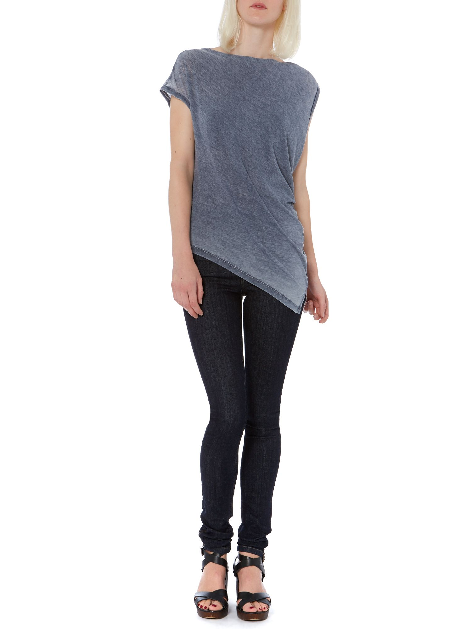 Washed oversized asymmetric burnout top