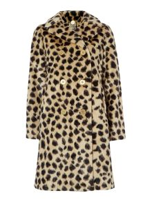 Leopard faux fur double breasted coat