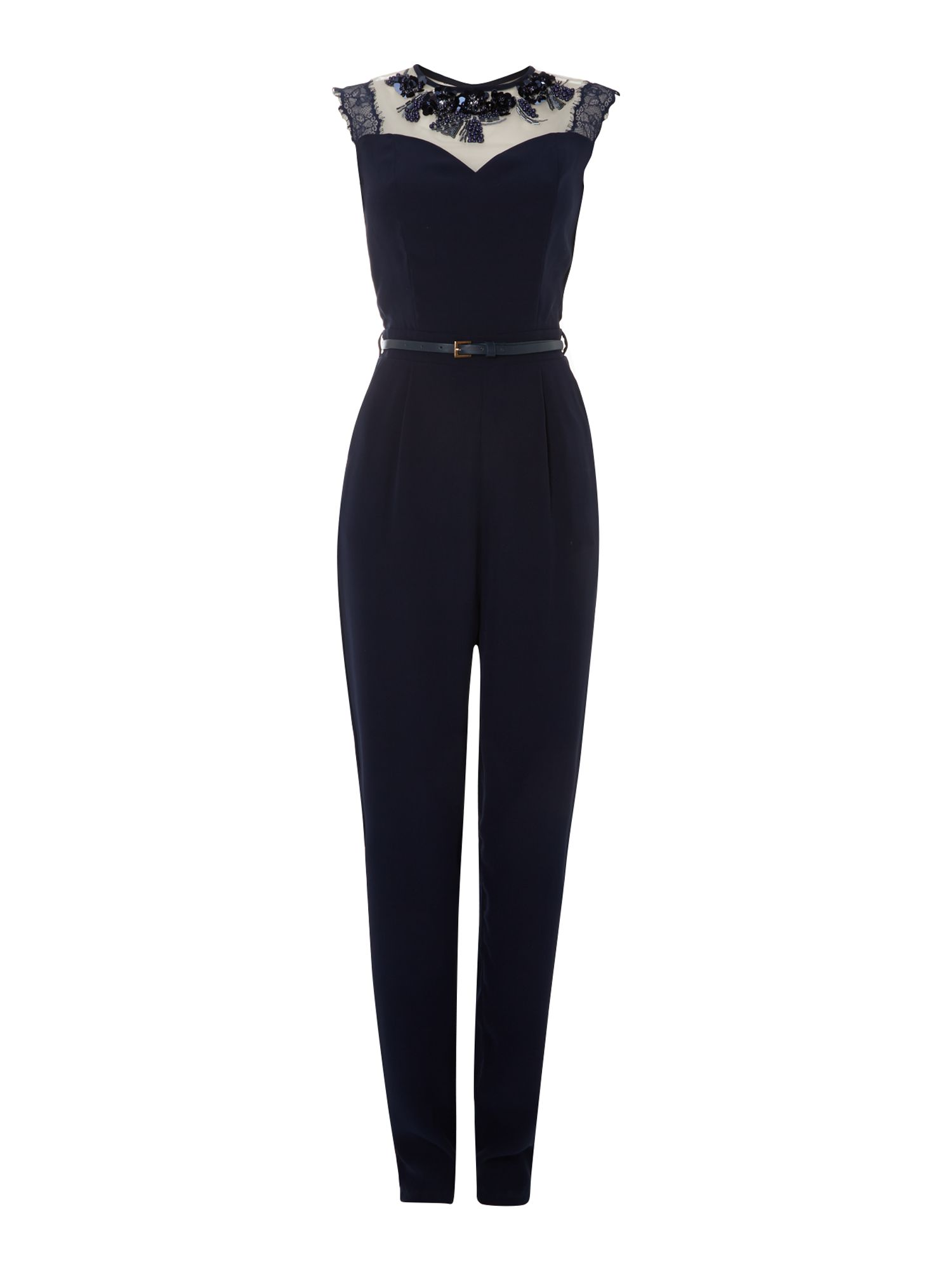 Sleevless sheer top belted jumpsuit