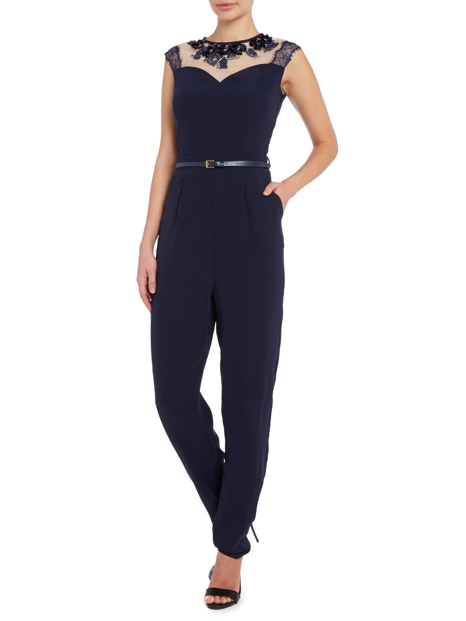 Sl Sheer Top Belted Jumpsuit