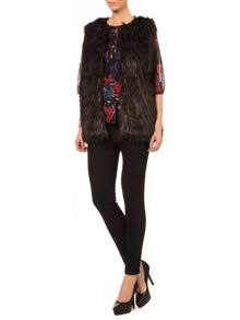 Faux fur speckle gilet