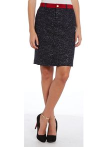 Tweed pencil skirt with contrast trim