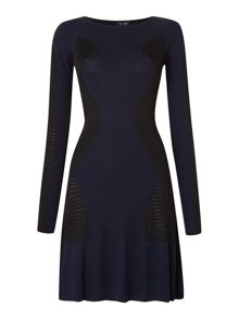 Long sleeve contrast panel dress