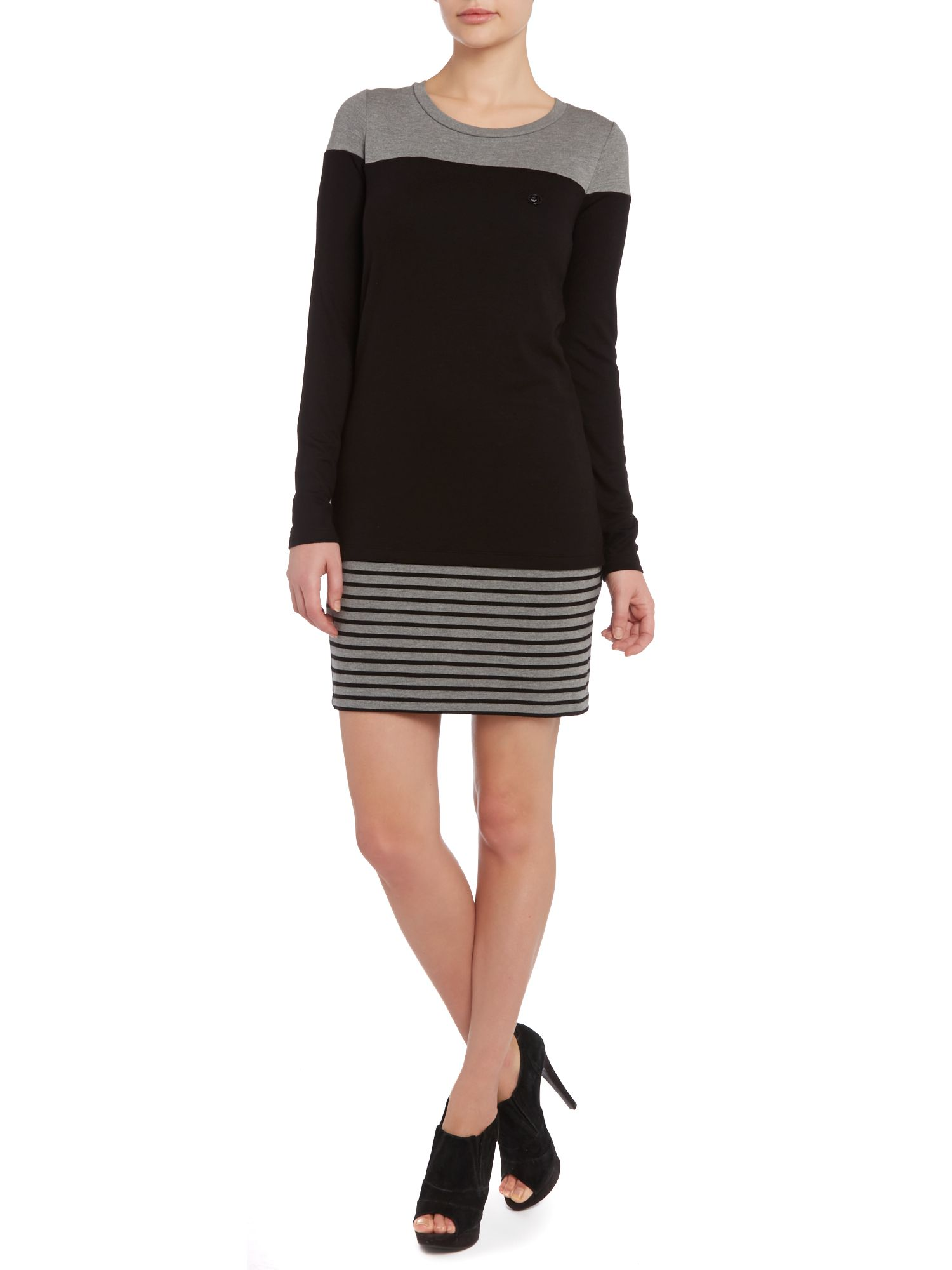 Long sleeve colourblock stripe dress