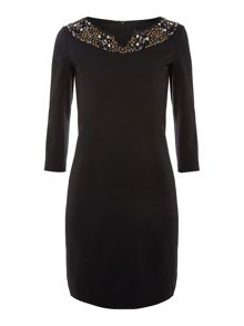 Embellished dress with boat neck