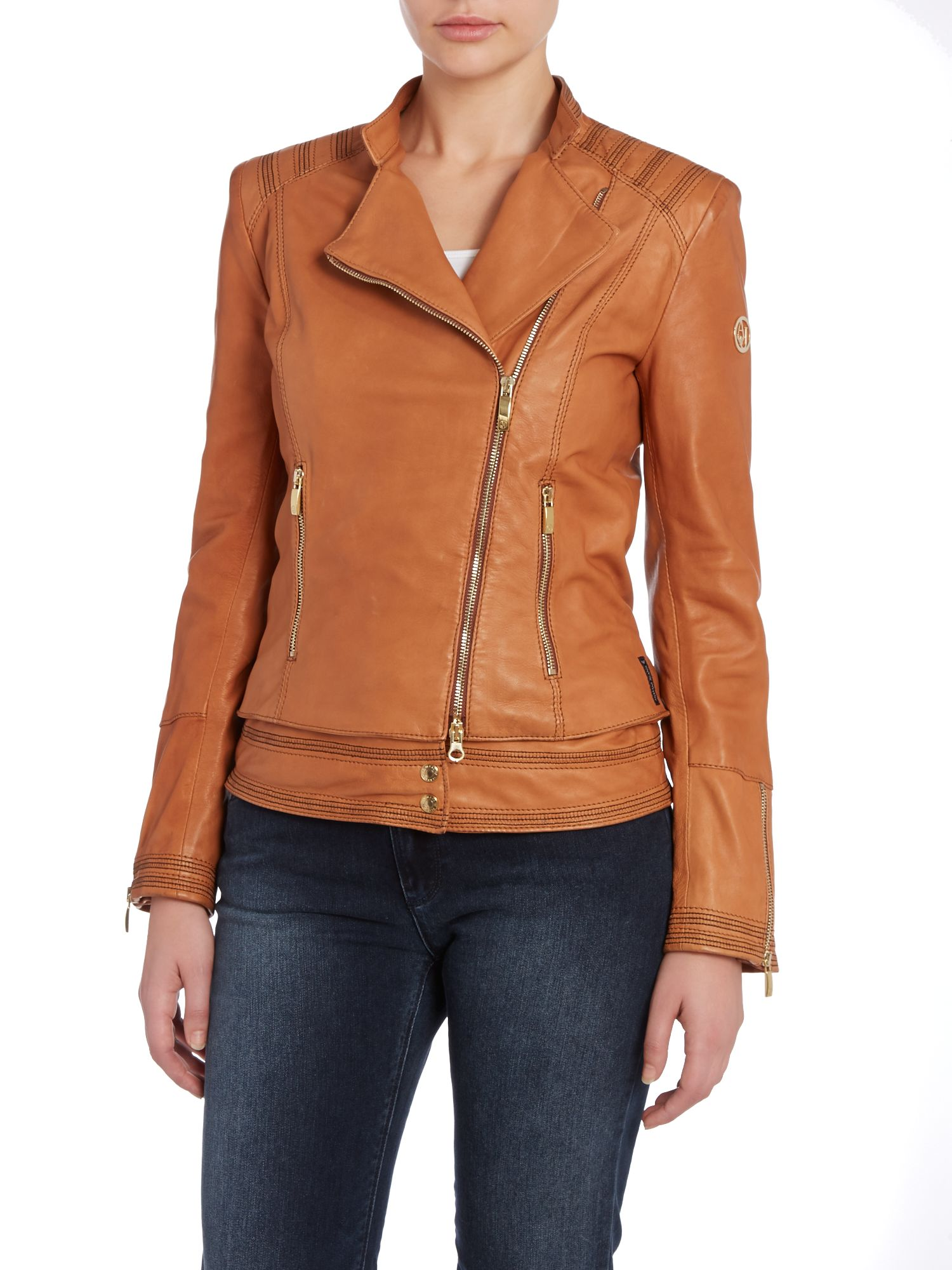 Collarless leather jacket