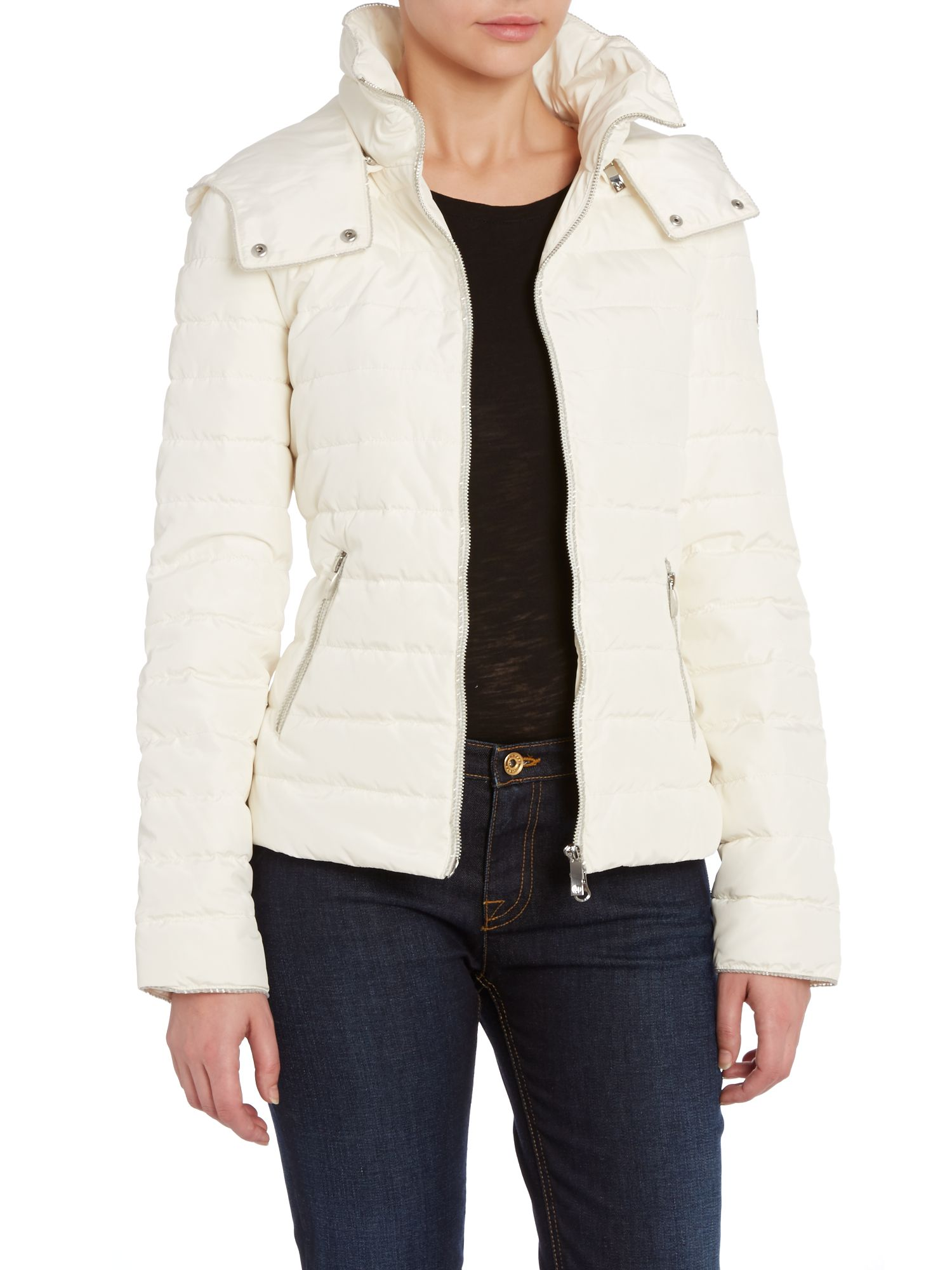 Short padded coat with lurex trim