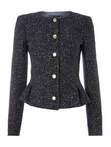 Tweed jacket with gold trim buttons