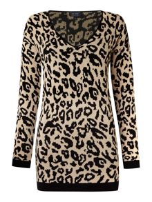 Long sleeve v neck knit in animal print