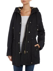 Parka coat with a removable faux fur lining