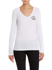 Long sleeve top with leopard logo