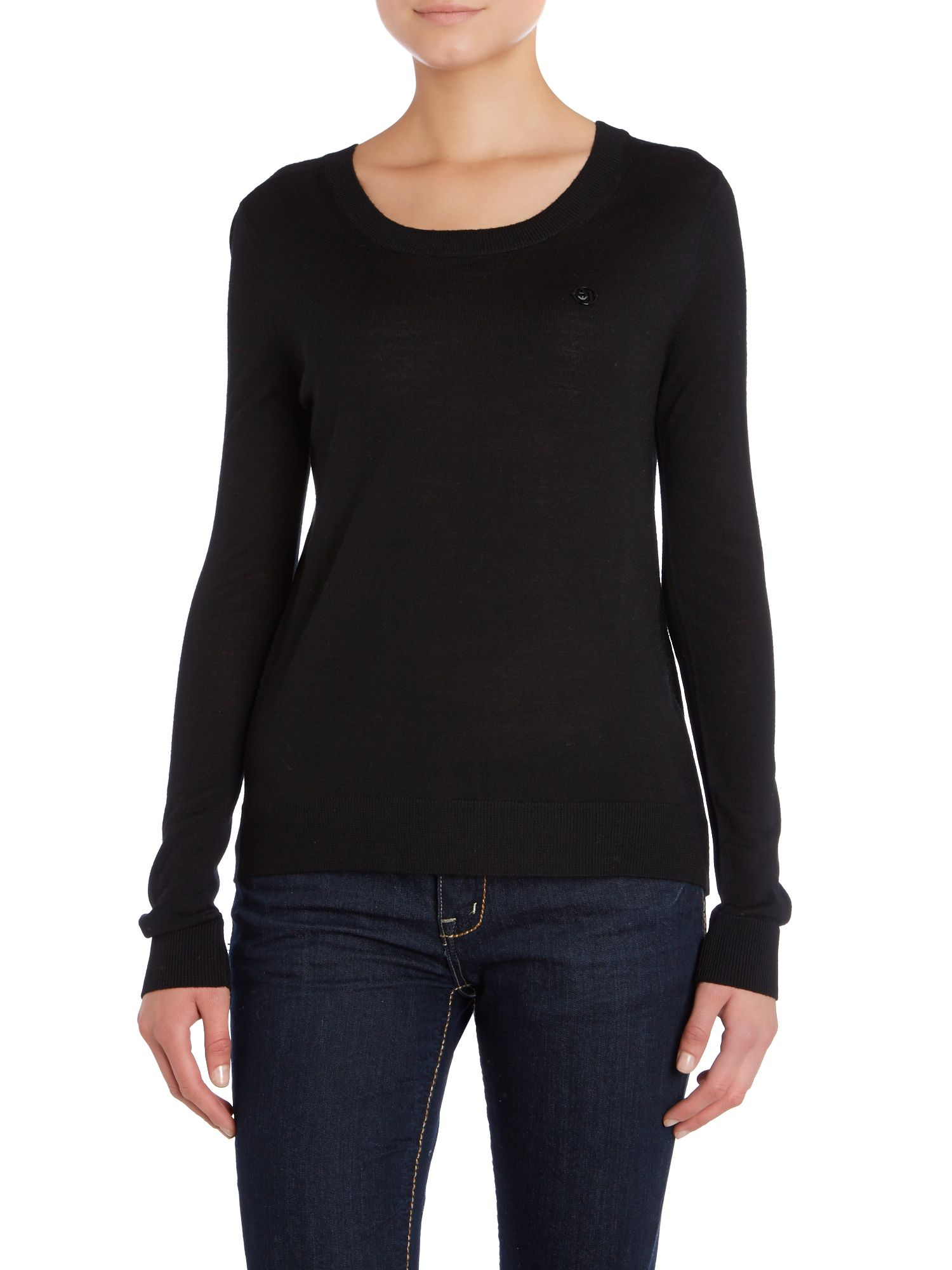 Long sleeve logo knit with frill at the back